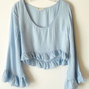 COTTON CANDY Baby Blue Bell Sleeve Ruffle Top